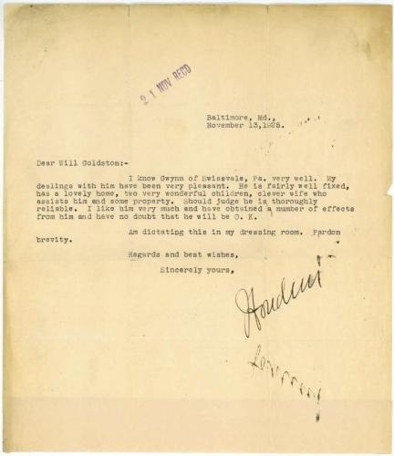 Harry Houdini Typed Letter Signed Autographed Nov 13th 1925 Beckett BAS
