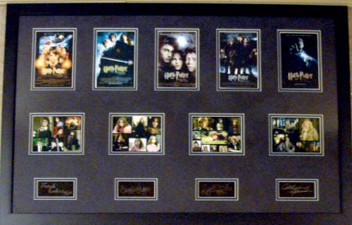 Harry Potter movies masterpiece with micro movie posters framed matted 22x34 Laser Signature Daniel Radcliffe Emma Watson