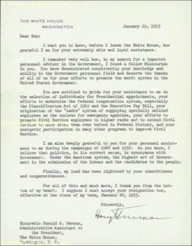 Harry S Truman - Typed Letter Signed 01/19/1953