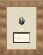 Harry Truman Signed White House Card Display