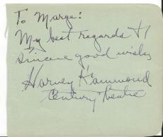 Harvey Hammond Signed Vintage Album Page Century Theatre
