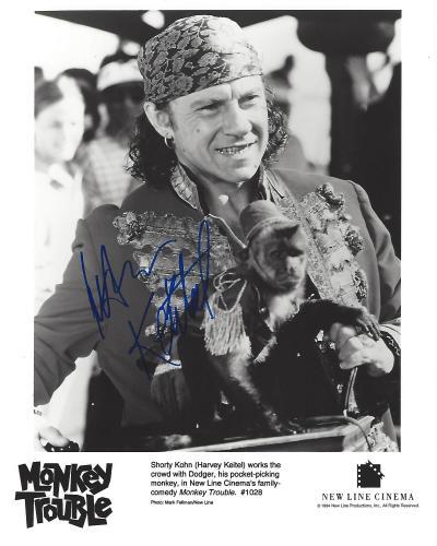 """HARVEY KEITEL as AZRO in 1994 Movie """"MONKEY TROUBLE"""" Signed 8x10 B/W Photo"""