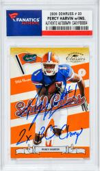 "Percey Harvin Autographed ""2x BCS Champs"" 2009 Donruss Rookie Card #33"