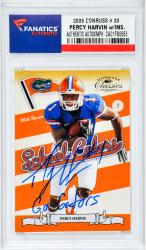 "Percey Harvin Autographed ""Go Gators"" 2009 Donruss Rookie Card #33"