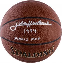 "HAVLICEK, JOHN AUTO ""74 FINALS MVP"" (SPALDNG) I/O BASKETBALL - Mounted Memories"
