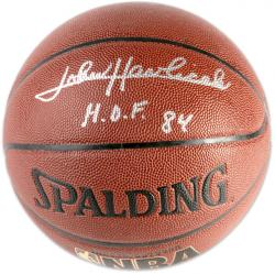 John Havlicek Boston Celtics Autographed Spalding Indoor/Outdoor Basketball with HOF 84 Inscription - Mounted Memories