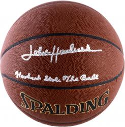 "HAVLICEK, JOHN AUTO ""STEALS BALL"" (SPALDING) I/O BASKETBALL - Mounted Memories"