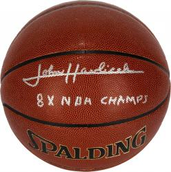 John Havlicek Boston Celtics Autographed Spalding Indoor/Outdoor Basketball with 8X NBA Champs Inscription - Mounted Memories