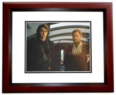 Hayden Christensen and Ewan McGregor Signed - Autographed STAR WARS 8x10 inch Photo MAHOGANY CUSTOM FRAME - Guaranteed to pass PSA or JSA - Anakin Skywalker and Obi-Wan Kenobi