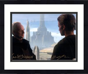 """Hayden Christensen & Ian McDiarmid Star Wars Attack of the Clones Autographed 11"""" x 14"""" Anakin Skywalker & Chancellor Palpatine Photograph - Topps Authentic"""
