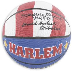 Marques Haynes Globetrotters Autographed Basketball with HOF 98 and World Greatest Dribbler Inscriptions