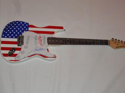 Heart Signed Usa Flag Electric Strat Guitar Nancy Ann Wilson 1/1 Jsa Coa