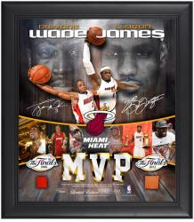 LeBron James & Dwyane Wade MVP Miami Heat Framed Collage with Game-Used Ball & Jersey-Limited Edition of 250 - Mounted Memories