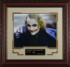 Heath Ledger unsigned 11x14 Photo Engraved Signature Series Leather Framed as the Joker from The Dark Knight