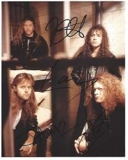 """HEAVY METAL BAND """"METALLICA"""" was Formed in 1981-Signed by JAMES HETFIELD (1981 to Present LEAD VOCALS, RHYTHM GUITAR) LARS ULRICH (1981 to Present DRUMS, PERCUSSION), KIRK HAMMETT (1983 to Present LEAD GUITAR, BACKING VOCALS) and JASON NEWSTED (1986-2001"""