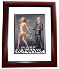 Heidi Klum Autographed Project Runway Model 8x10 Photo MAHOGANY CUSTOM FRAME