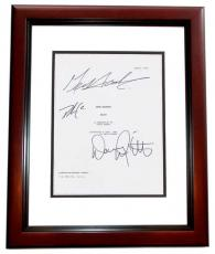 HEIST Autographed Script Cover by Gene Hackman, Delroy Lindo, and Danny DeVito MAHOGANY CUSTOM FRAME