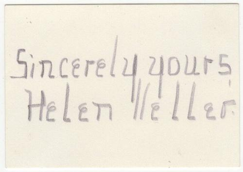 Helen Keller signed autographed index card! RARE! Great Condition! JSA LOA