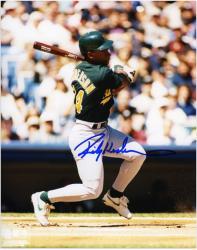 "Rickey Henderson Oakland Athletics Autographed 8"" x 10"" Batting Green Uniform Photograph"