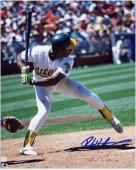Rickey Henderson Oakland Athletics Autographed 8'' x 10'' Batting White Uniform Photograph - Mounted Memories