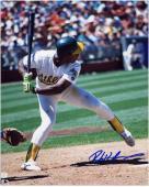 "Rickey Henderson Oakland Athletics Autographed 8"" x 10"" Batting White Uniform Photograph"