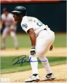 Rickey Henderson Oakland Athletics Autographed 8'' x 10'' Leading Off Base Photograph - Mounted Memories