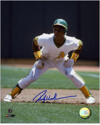 "Rickey Henderson Oakland Athletics Autographed 8"" x 10"" Leading Off Photograph"