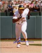 Rickey Henderson Oakland Athletics Autographed 8'' x 10'' Running White Uniform Photograph - Mounted Memories