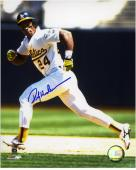 Rickey Henderson Oakland Athletics Autographed 8'' x 10'' Running Photograph - Mounted Memories