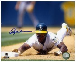 "Rickey Henderson Oakland Athletics Autographed 8"" x 10"" Slide Photograph"