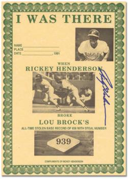 Rickey Henderson Commemorative Breaking Lou Brock's Stolen Base Record Autographed Certificate
