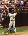 "Rickey Henderson Oakland Athletics Record Breaker Autographed 8"" x 10"" Photograph with ""SB King"" Inscription"