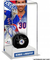 Henrik Lundqvist New York Rangers Autographed Puck with Deluxe Tall Hockey Puck Case