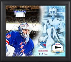Henrik Lundqvist New York Rangers Framed 15'' x 17'' Mosaic Collage with Piece Of Game-Used Puck-Limited Edition of 99