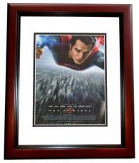 Henry Cavill Autographed SUPERMAN 11x17 inch Mini Movie Poster MAHOGANY CUSTOM FRAME