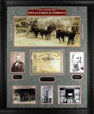 Henry Wells & William Fargo Signed & Framed AMEX Stock Certificate BAS #61217