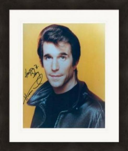 Henry Winkler autographed 8x10 Photo (Happy Days The Fonze) #SC6 inscribed Happy B Day Matted & Framed