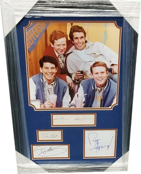 Henry Winkler Ron Howard Most Anson Signed Cut W/ 11x14 Photo Framed Happy Days