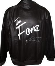 Henry Winkler signed Logo Brown Leather-like/Polyester Jacket Fonz (Fonzie/Happy Days/The Fonz Photo) entertainment