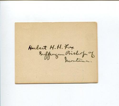 Herbert H. H. Fox Episcopal Bishop of Montana Clergy Signed Autograph
