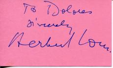 Herbert Lom Actor In The Pink Panther Count Dracula Signed Index Card Autograph
