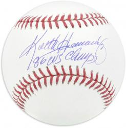Keith Hernandez New York Mets Autographed Baseball with ''86 WS Champs'' Inscription - Mounted Memories
