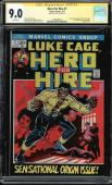 Hero For Hire #1 Cgc 9.0 White Ss Stan Lee Signed 1st App Luke Cage #1508240015