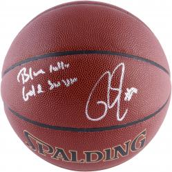 Roy Hibbert Indiana Pacers Autographed Spalding Indoor Outdoor Basketball with Blue Collar Gold Swagger Inscription - Mounted Memories  - Mounted Memories