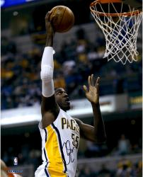 "Roy Hibbert Indiana Pacers Autographed 16"" x 20"" Close Up Dunk Photograph"