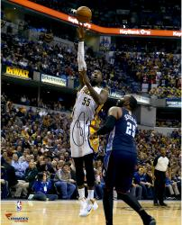"Roy Hibbert Indiana Pacers Autographed 16"" x 20"" Hook Shot Photograph"