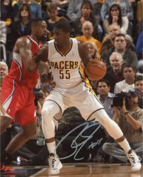 """Roy Hibbert Indiana Pacers Autographed 8"""" x 10"""" White Post Up Photograph"""