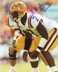 "HIGHSMITH, ALI AUTO ""07 CHAMPS"" (LSU/DEFENSIVE STANCE) 8X10 - Mounted Memories"