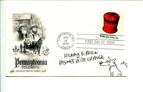 Hilary B. Price Rhymes With Orange Artist Cartoonist Signed Autograph FDC Sketch