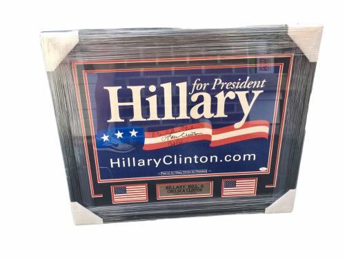 Hillary Bill & Chelsea Clinton Signed Campaign Poster Framed JSA